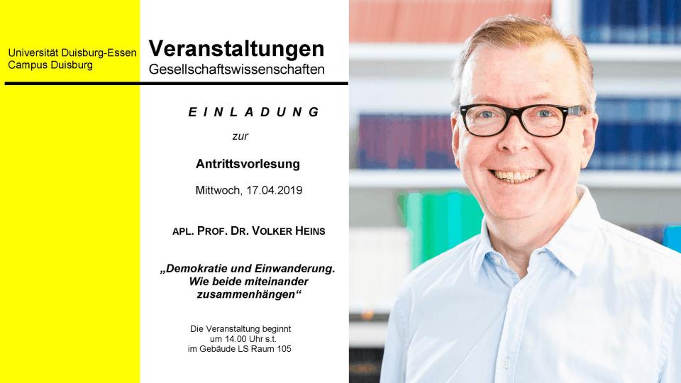 KWI on Tour: Volker Heins hält Antrittsvorlesung an der Fakultät für Gesellschaftswissenschaften der UDE