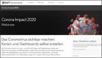 Screenshot zu einem Dashboard-Seminar des GIS-Marktführers ESRI Inc. https://www.esri.de/de-de/landingpages/corona-impact-2020/webinar