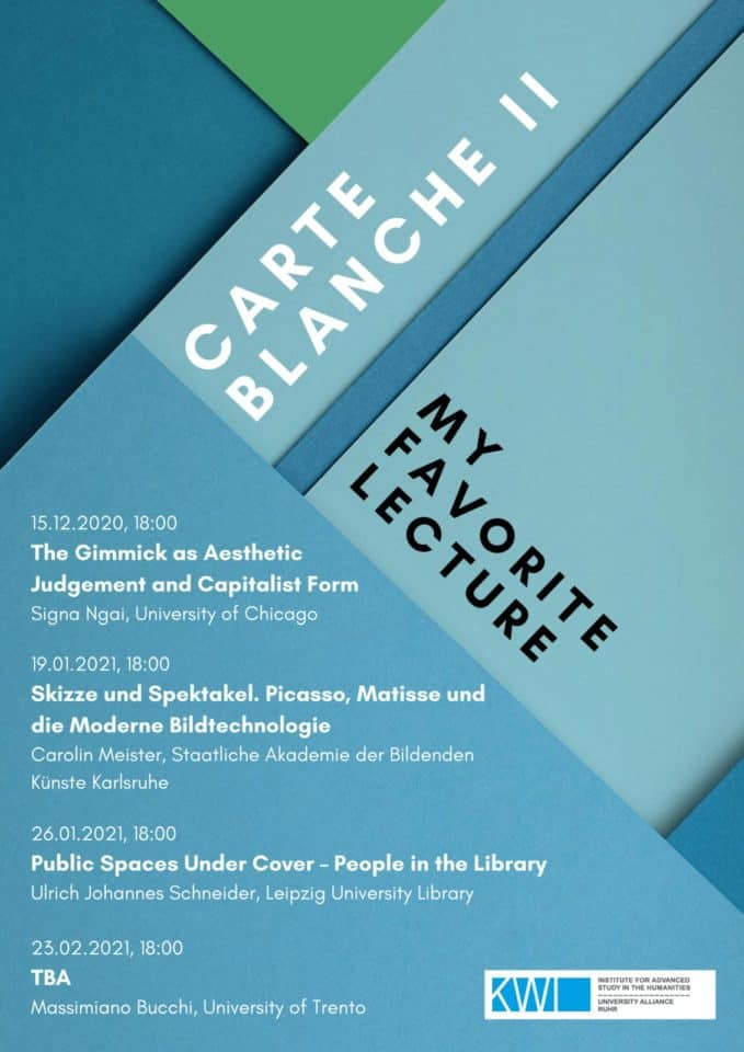 Carte Blanche II: My Favorite Lecture – New Virtual Lecture Series this Winter